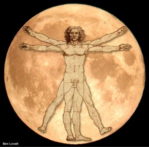 Vitruvian Man On The Moon
